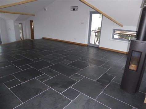 brushed black slate flooring modern living room east midlands by mrs stone store