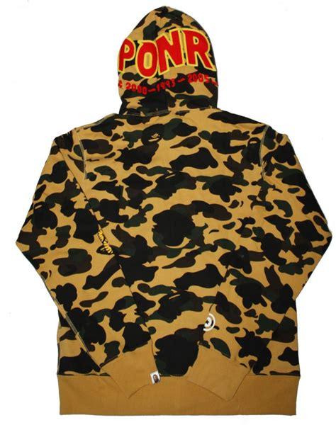Bape Shark Ponr Zip Hoodie Yellow zip yellow camo ponr bape shark hoodie dopestudent