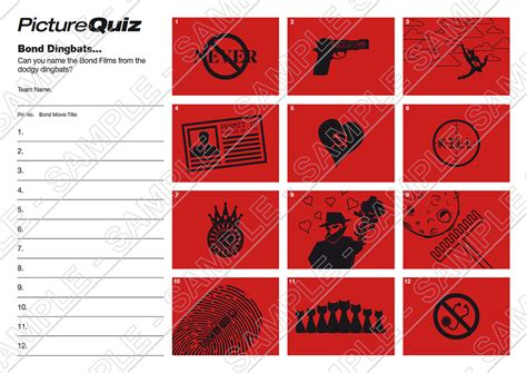 film quiz dingbats quiz number 029 with bond dingbats picture round
