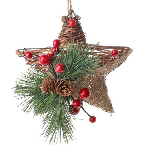 rustic burlap and grapevine star ornament christmas