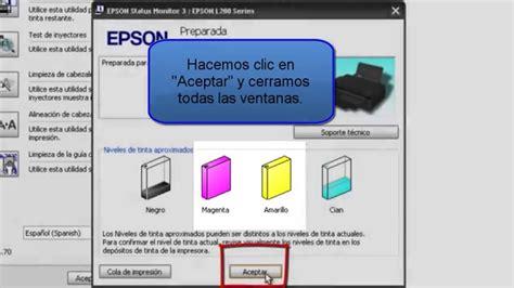 reset epson l200 nivel de tinta como rellenar y agregar los c 243 digos de las tintas en la