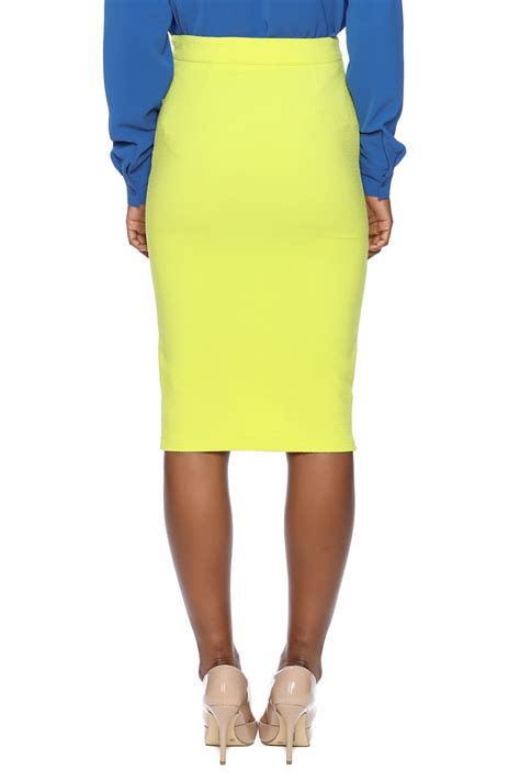 yellow pattern pencil skirt jieru yellow pencil skirt from new york city by jupe