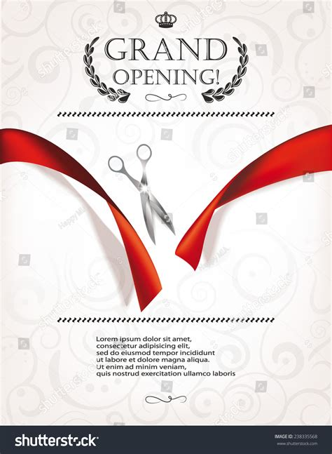 grand opening invitation card silver scissors stock vector