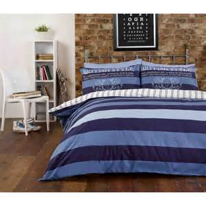 Home double bed blue striped duvet quilt cover bedding bed set ideal