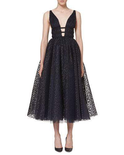 Dotted Sleeve A Line Dress carolina herrera silk dress bergdorfgoodman