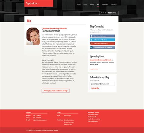 Speaker Author Website Template On Behance Speaker Website Templates