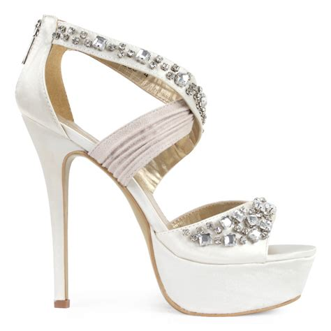 new womens ivory diamante platform bridal stiletto
