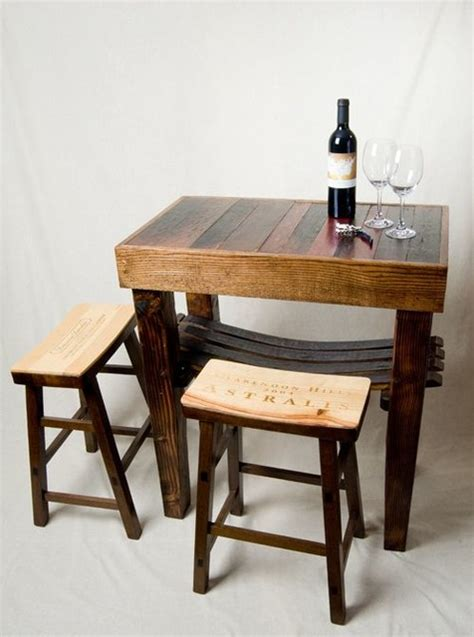 crate and barrel bar table barrel stave table and wine crate stools indoor pub and