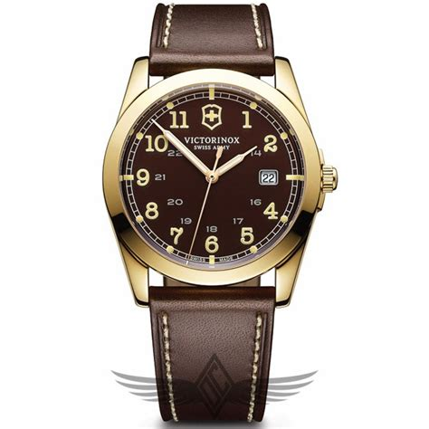 victorinox swiss army infantry 40mm gold pvd leather