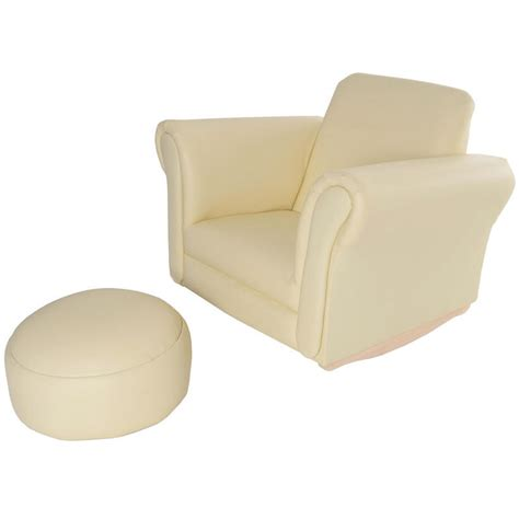 childrens armchair and footstool azuma kids pu leather look rocker rocking armchair seat footstool cream
