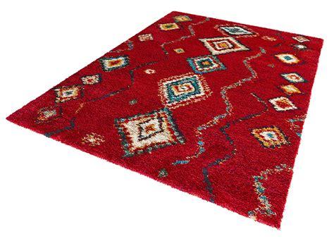 langflor teppich rot design teppich hochflor langflor geometric rot teppiche