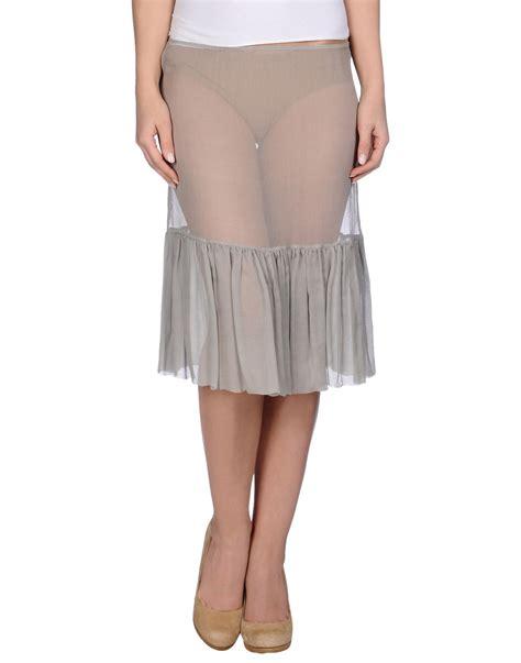knee length skirt in gray light grey lyst