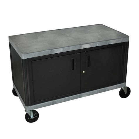 cart with locking cabinet luxor heavy duty two shelf industrial cart with locking