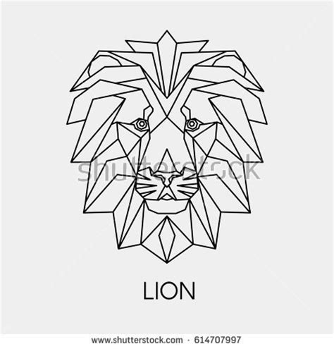 vector abstract polygon head lion geometric stock vector