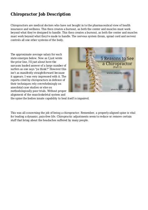 Chiropractic Description by Chiropractor Description
