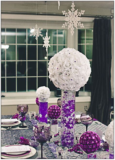 purple silver and white wedding table decorations events that sparkle a winter