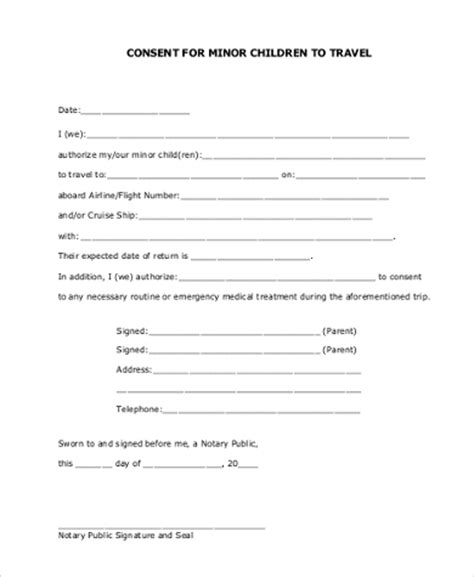 child travel consent form sle travel consent form 8 free documents in pdf