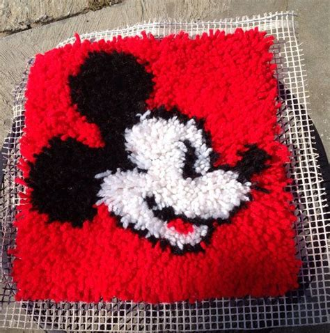 mickey mouse latch hook rug kits mickey mouse latch hook rug wall hanging vintage walt disney world coolness on etsy 18 00