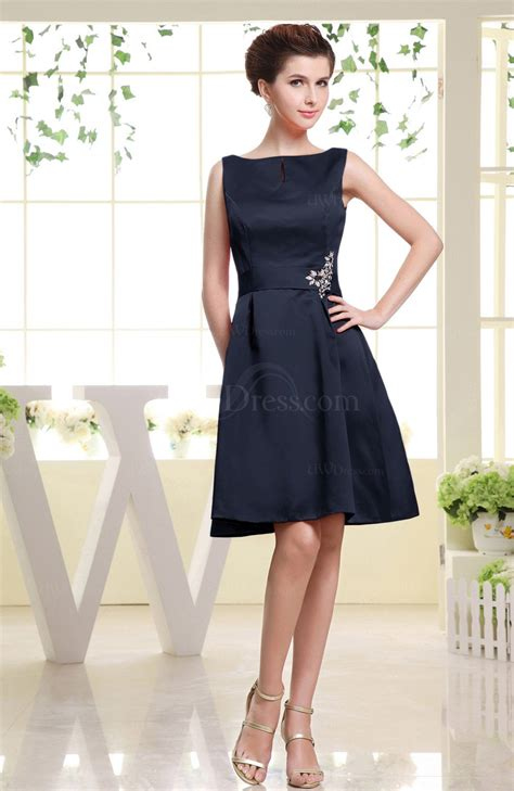 Plain Sabrina Blouse 1 navy blue plain sabrina sleeveless zipper knee length rhinestone bridesmaid dresses uwdress