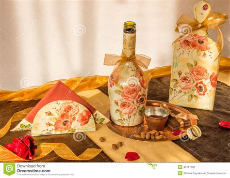 Decoupage Items - decoupaged household items stock photo image 43717792