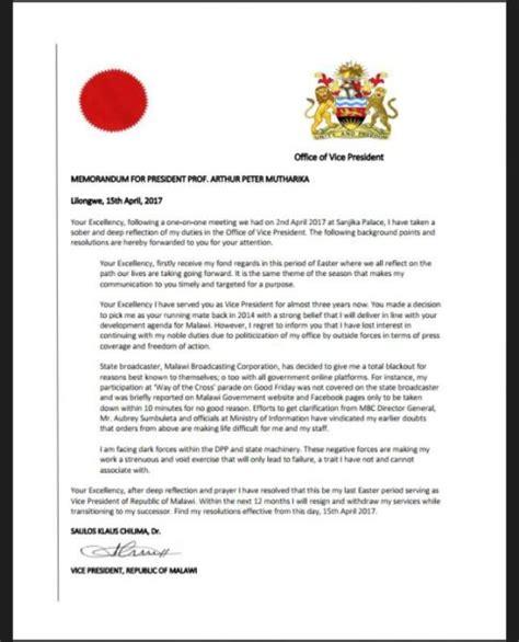 Resignation Letter Goes Viral Resignation Letter About Malawi Veep Chilima Goes Viral Malawi Nyasa Times Malawi