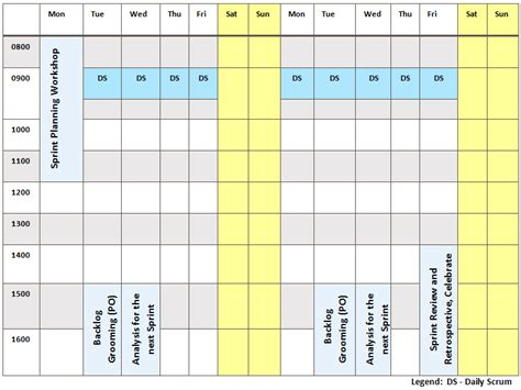 Work Week Schedule Template Free Printable Weekly Schedule Template Excel Calendar Week Agenda Sprint Schedule Template