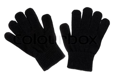 2 Pair Mittens S a pair of black gloves isolated on white background stock photo colourbox