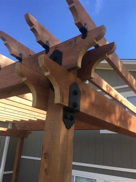black pergola hardware choosing decorative metal brackets for wood beams weather resistant pergola hardware ideas