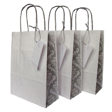 silver wedding favor bags wedding paper gift bag with silver damask panel for