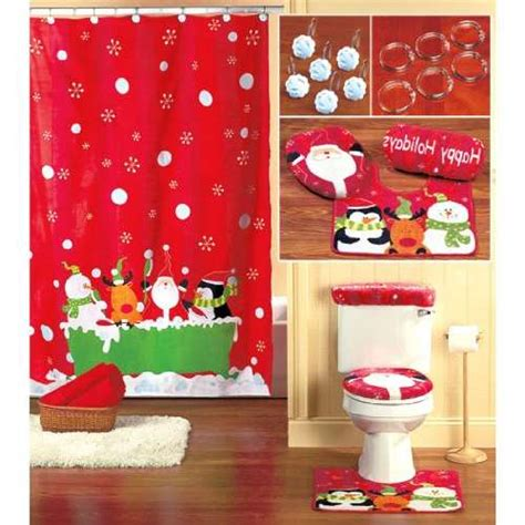 christmas bathroom shower curtains christmas shower curtain set decor ideasdecor ideas