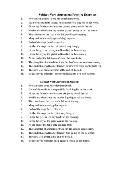 printable quiz on subject verb agreement worksheets subject verb agreement worksheets with answers