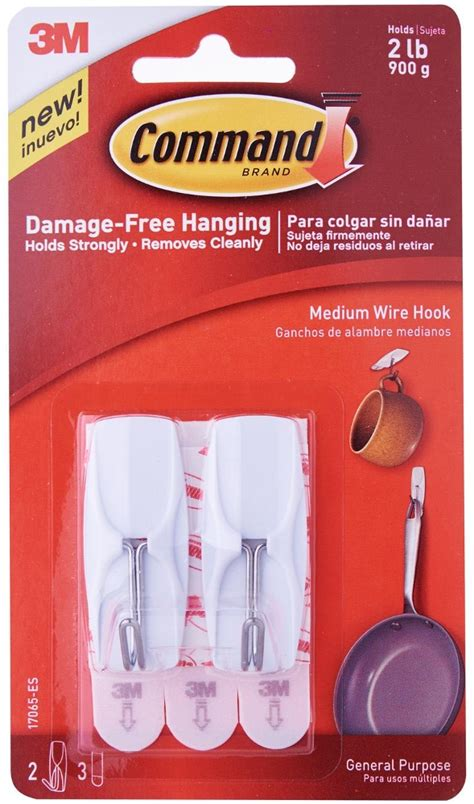 3m command 3 wire hooks w t 4 clear strips blue ace 3m command medium wire hooks 17065es home office