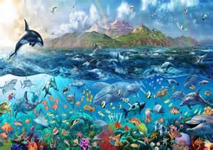 tropical sea life ocean fishes orca wallpaper wall mural art 210 sea reef life wall mural