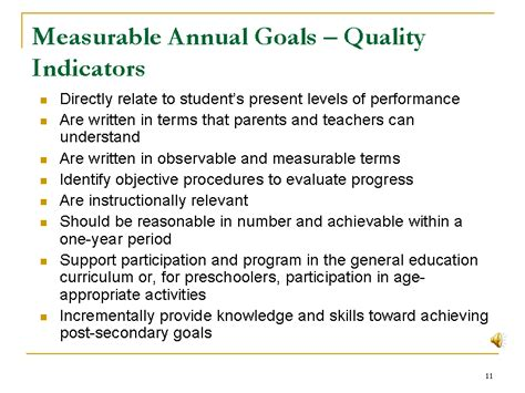 measurable goals and objectives template measurable annual goals quality indicators slide11