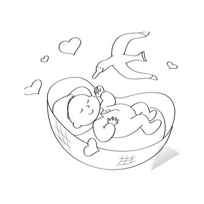 neonato nella adesivo neonato nella da colorare pixers