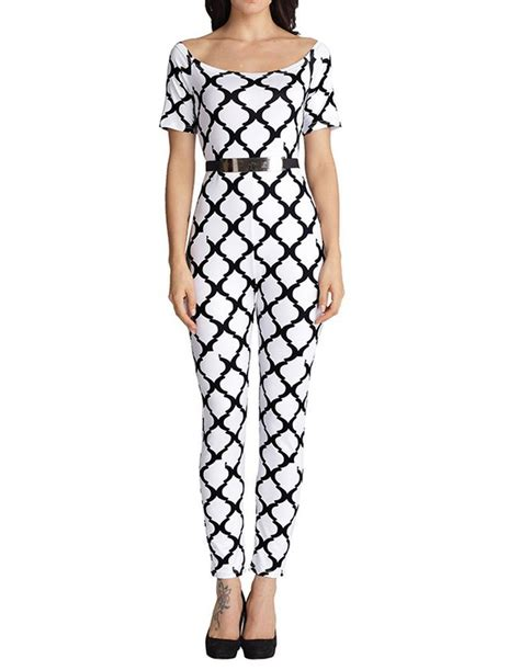 pattern jumpsuit shorts short sleeve scoop neck diamond pattern belted tight
