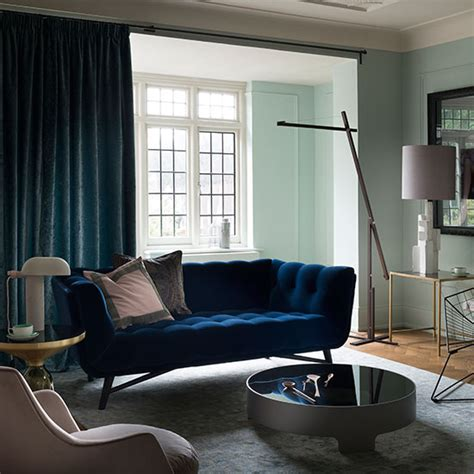 Midnight Blue Curtains Designs Pale Green And Blue Velvet Living Room Decorating Ideal Home