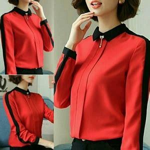Blouse Cantik Merah Dan Biru baju atasan wanita blouse lengan panjang model terbaru warna merah modis