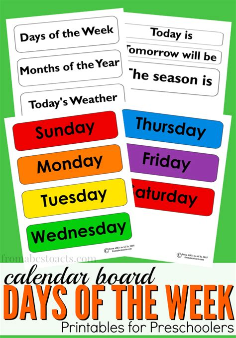 days of the week calendar board printable from abcs to acts