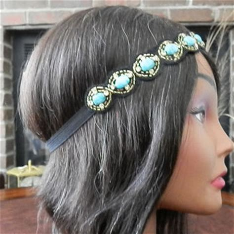 best turquoise flower headband products on wanelo best turquoise beaded headband products on wanelo
