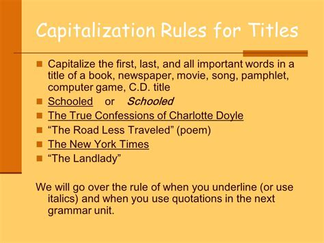 writing a title of a book in a paper the or laws of capitalization and use them in