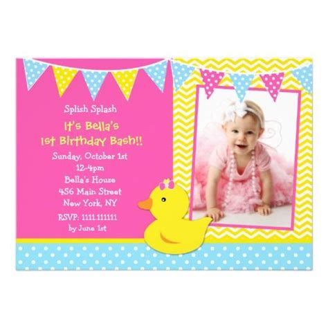rubber st card templates free printable rubber ducky 1st birthday invitations