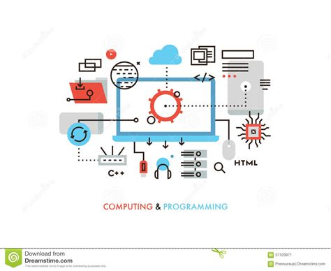 design web page html language computing and programming flat line illustration stock