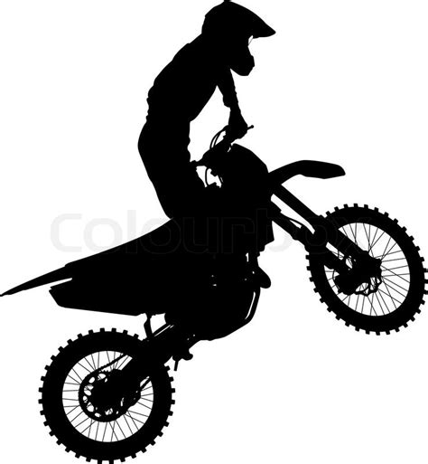Dirt Bike Wall Stickers black silhouettes motocross rider on a motorcycle vector