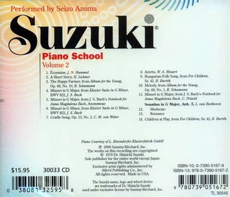 Suzuki Piano Volume 2 Suzuki Piano School Cd Volume 2