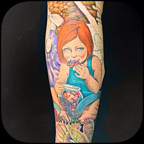 girl tattoo form creepy beautiful butterfly color