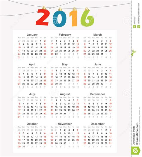 design calendar simple calendar 2016 simple modern design illustration stock