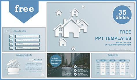 Real Estate House Ions Powerpoint Template Real Estate Investment Powerpoint Template