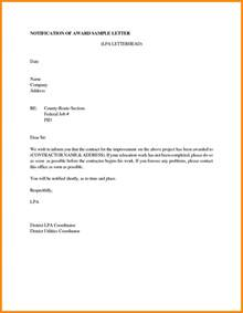 Award Notification Letter 9 Bid Award Letter Template Resumed