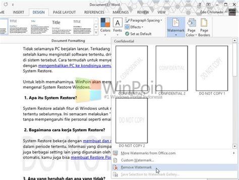 cara membuat watermark untuk sertifikat cara memberi watermark sebuah dokumen pada word 2013 winpoin